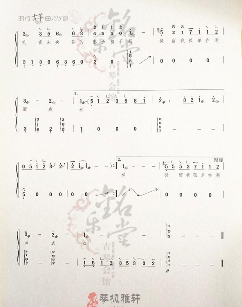 《菊花台》古筝谱